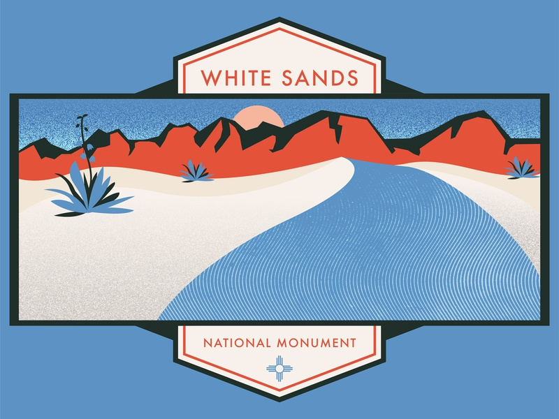 White Sands National Monument nature landscape plants yucca mountains new mexico national park national parks texture grit illustration desert white sands