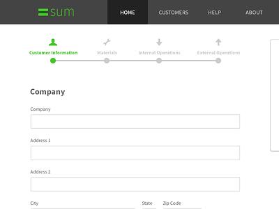 Sum application form fields navigation
