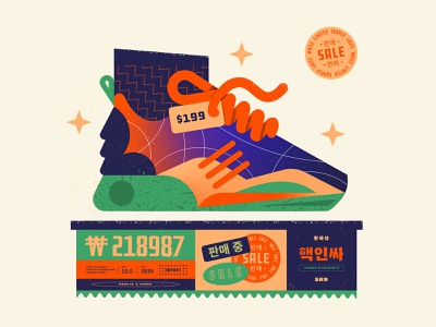 Shoe Sale | 팔다 poster 팔다 korean texture vector numbers type shoe illustration