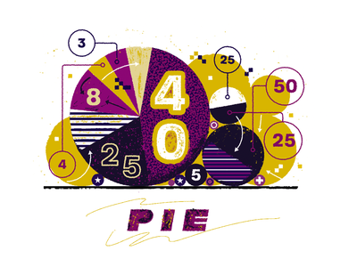 PIE texture numbers vector design illustration