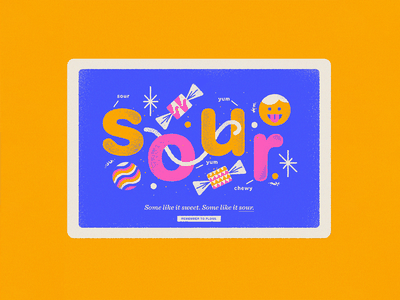 Some like it sweet. Some like it sour. lettering type fun cute texture design vector illustration food sour candy