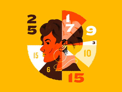 Piechart chart texture information women numbers graphic design illustration piechart