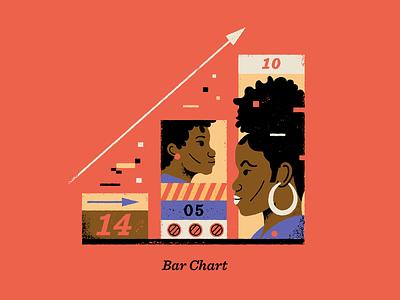 Bar Chart portrait blackwomen people texture infographics numbers graphic design infographic illustration chart barchart