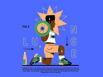 Lunge vector texture illustration lunge legday black wellness health fitness
