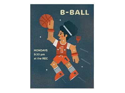 B Ball illustration hangtime hoopdreams basketball poster