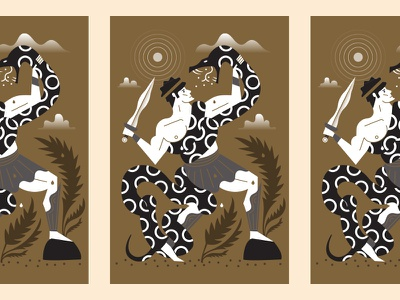 Hercules pattern snake greek hercules illustration