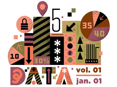 Data Chunk design vector pattern assemblage numbers illustration