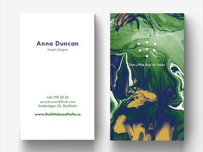 Hey Dribbblers! print marbling design business card