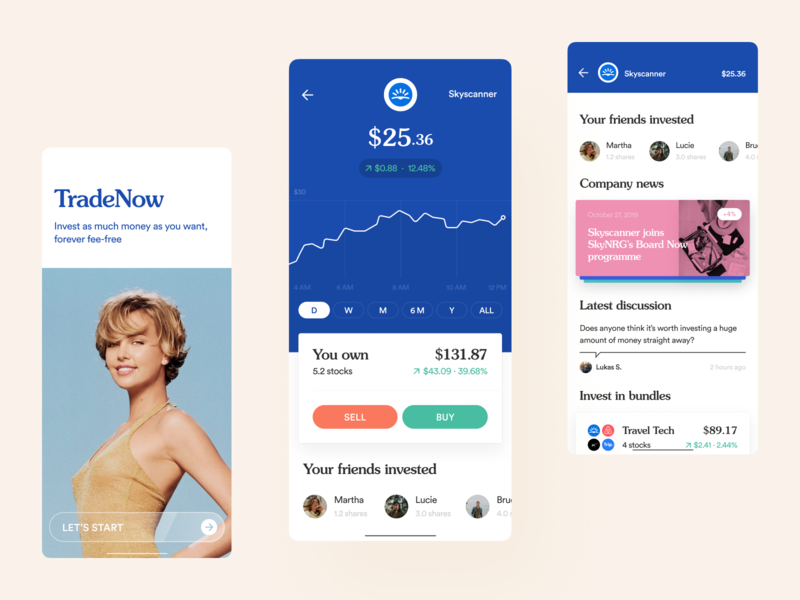 TradeNow — invest in stocks and companies mobile interface mobile app design mobile design 80s style 80s mobile ux mobile investments app buy stocks stocks shares investment service banking app investment invest app investments