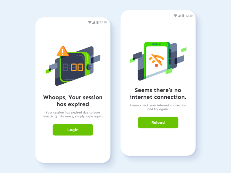 Empty States Illustrations For Flixbus error screen orange green vector mobile ui mobile app session expired no connection no internet empty state illustration ui