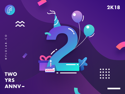 Studio Flolab 2nd Anniversary! birthday anniversary graphic design gradient ux ui team studio vector illustration