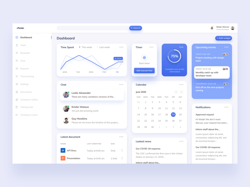 ePortal dailyui design ui  ux clean figma uiux dashboard portal