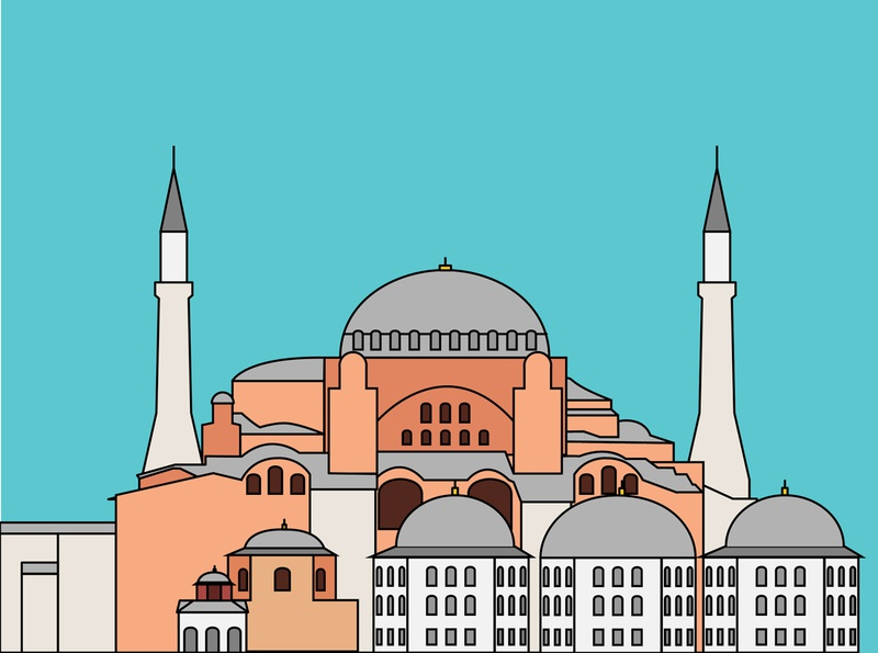Istanbul Hagia Sophia careem building minimal travel istanbul turkey street historic illustration