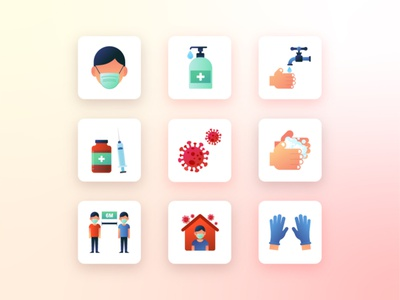 Icons on Covid-19 india covid19 corona virus web dribbbler illustration vector icon set icon