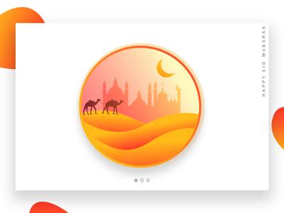 Eid Mubarak - Ramadan web ux eid camel dribbble gradient masjid ramadan app ui moon