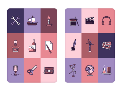 Creative Space clipboard hat chest scissors microphone paper wine bulb candle ship wrench layout cards geometric illustration geometric art linework lineart icon design icons icon