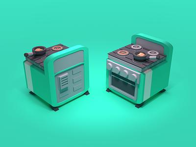 Stove 3d render 3d illustration 3d artist 3d art furnace rendering render kitchen oven stove blender3d blender lowpoly 3d