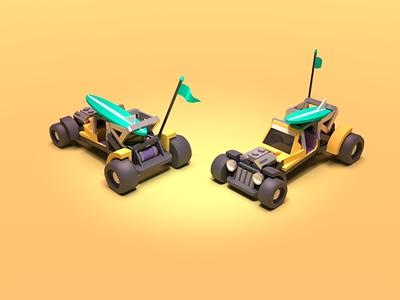 Dune Buggy 3d illustration racing low poly 3d render cartoon madmax vehicle car dunebuggy 3d art blender3d blender 3d lowpoly