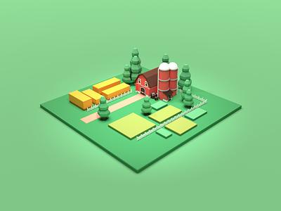 Farm trees plain countryside render model 3d illustration grass wheat barn farmer agricultural agriculture farming farm 3d art blender3d blender 3d lowpoly