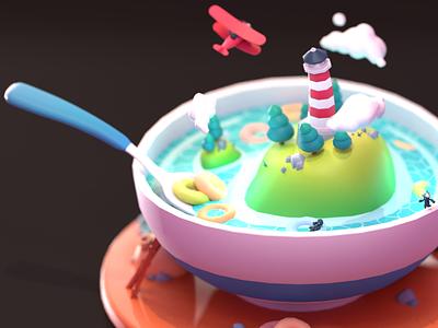 Cereal Island creativity fantasyworld clouds sea lake trees lighthouse island fantasy bowl cereal plane 3dillustration 3d art blender 3d