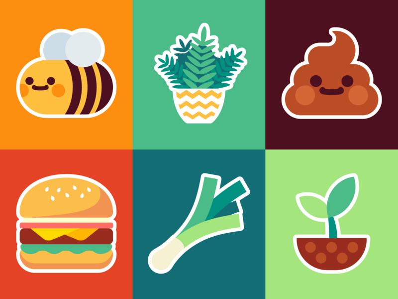Icons pot colors emote icon wholesome leek food hamburgers hamburger emoji poop sprout seed fern plant happy flat bee