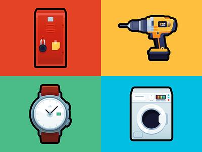 Items lockers time washer powertool colourful colorful icon flat high school locker watch drill washing machine appliance tool tools items random