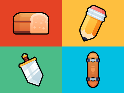 Items 3 art drawing pencils sketch shot items colors icons colorful color icon skateboard assets game rpg sword artist loaf toast bread