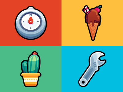 Items 4 shot items icons icon dessert direction plants food colorful colors tool wrench plant cactus icecream compass artist art
