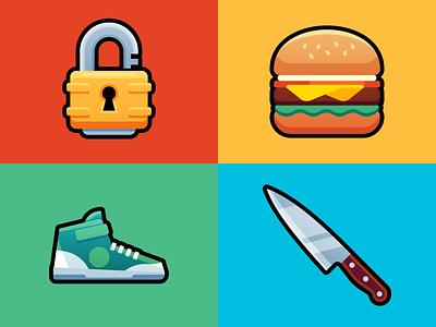 Items 5 art colors lock locked shoe eat shot icons icon colorful chefs knife sneakers sneaker hamburger food burger padlock