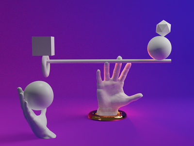 Abstract Hands and Shapes clayrender shapes abstract blendercycles blender3d 3d illustration minimal design