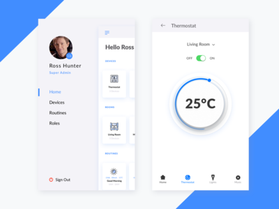 Smartcribs Sidemenu and Thermostat Screens