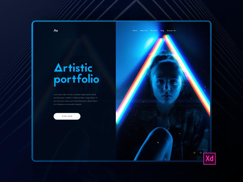 Artistic Portfolio Interface Design(Dark) branding minimal adobexd dark toniadegbenro app ux ui design