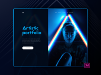 Artistic Portfolio Interface Design(Dark)