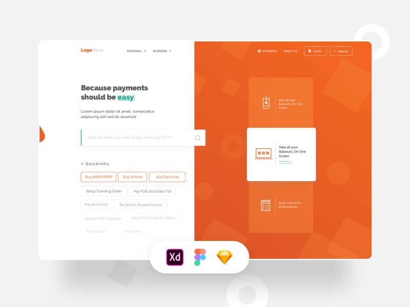 FREEBIE - Biller Landing Page Design (XD + Sketch + Figma)