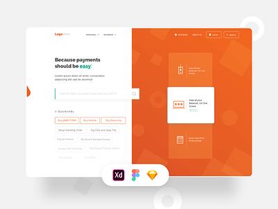 FREEBIE - Biller Landing Page Design (XD + Sketch + Figma) figma logo web adobexd vector minimal sketchapp app ux ui design