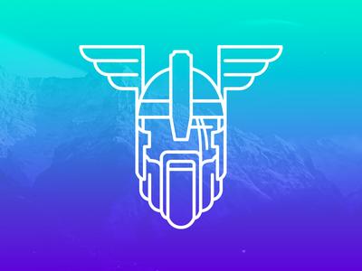 Odin odin norse scar mountains gradient wings viking helmet beard