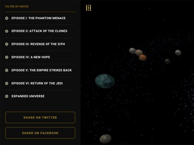 Star Wars: An Interactive Galactic Experience (Menu Detail) hoth tatooine experience galaxy gold star wars