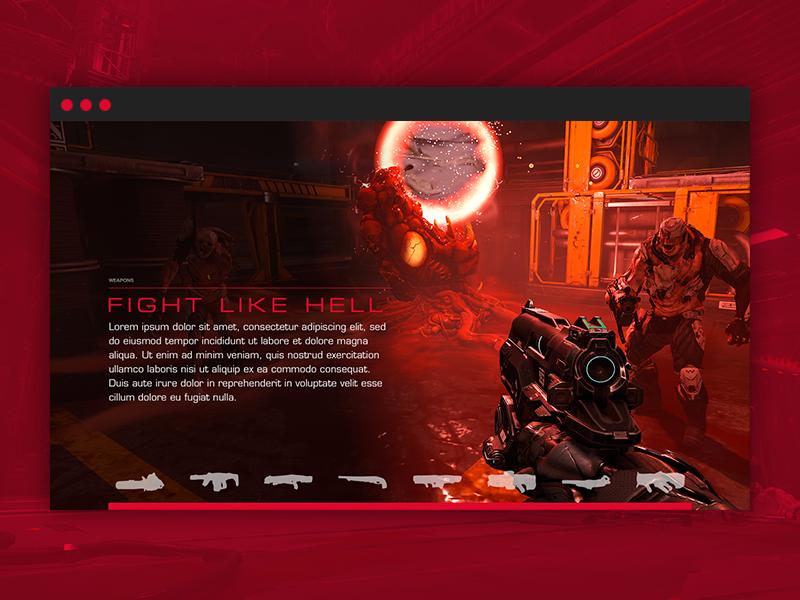 DOOM - Weapons / Demons Module interactive design web web design bloody marine hell slider module demons weapons doom