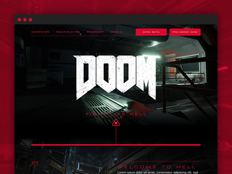"""DOOM - """"Descent Into Hell"""" homepage interactive design web website web design bloody marine hell demons weapons doom"""