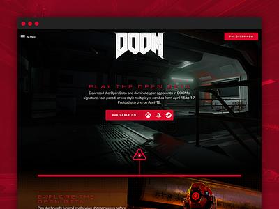 DOOM - Open Beta homepage interactive design web website web design bloody marine hell demons weapons doom