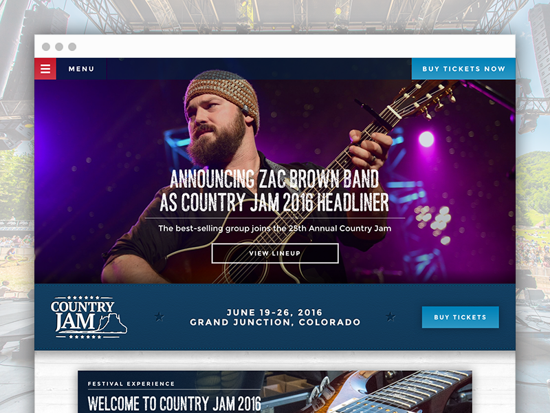 Country Jam - Site Design festival country jam country music music country homepage interactive design web website web design