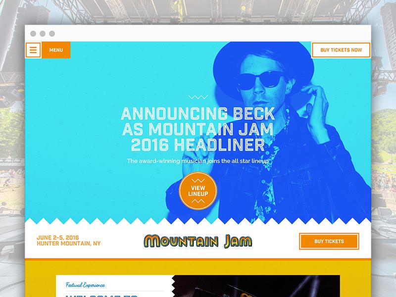 Mountain Jam - Site Design jam folk music mountain jam country music music country homepage interactive design web website web design