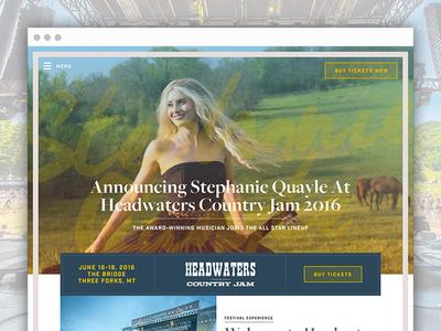 Headwaters Country Jam - Site Design festival headwaters country music music country homepage interactive design web website web design