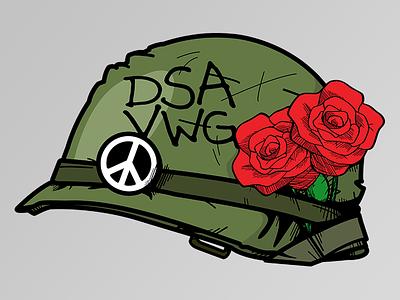 Peace and Roses military peace dsa roses tshirt illustration veterans helmet