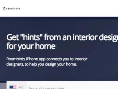 Roomhints.com Frontpage Design design app mobile website elegant