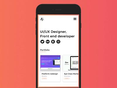 Portfolio Mobile design concept personal website ux ui iphone design mobile portfolio