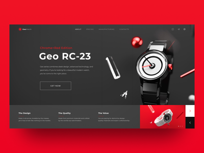 Watch And Landing Page Concept red and black typography web landing page coronarender geometry watch cinema 4d app illustration design ux ui figma concept