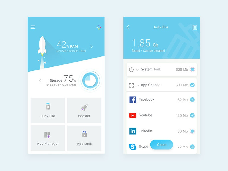 Clean Booster app by M  Avan on Dribbble