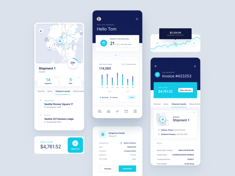 Logicsols - Supply chain platform - Mobile App Pages clean ui mobile cards cargo transport route details payment graph chart invoice shipment departure arrival map supply chain platform overview dashboard
