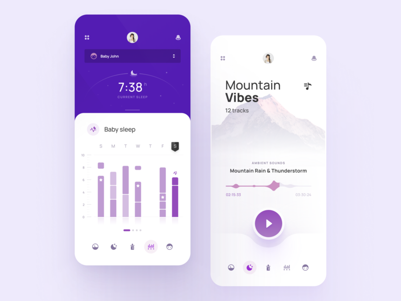 Baby Sleep Monitor - Mobile app ux ui baby calendar product mobile sound graph overview cards navigation player music clean widelab tracker monitor sleep chart dashboard